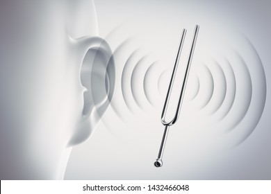 Human Ear with tuning fork and sound waves - 3D illustration