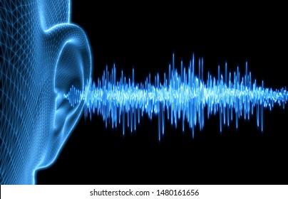 Human Ear - Wireframe Illustration with Soundwaves - 3D illustration