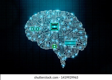 Human electronic brain printed circuit board or pcb design with cpu on binary code background. Transhumanism, artificial intelligence or AI, computer science or IT, advanced technology concept
