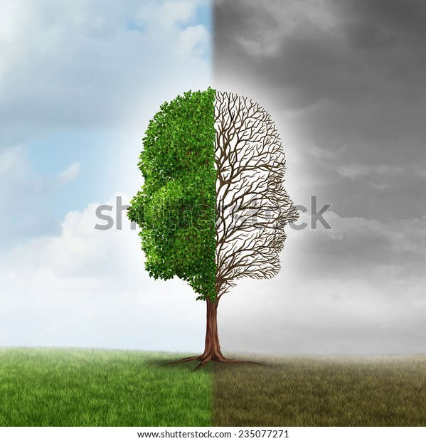 Human emotion and mood disorder as a tree shaped as two human faces with one half empty branches and the opposite side full of leaves as a medical metaphor for psychological contrast in feelings.