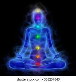 Human energy body, aura, chakra in meditation