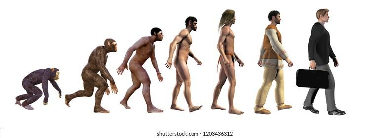 human evolution, 3d illustration