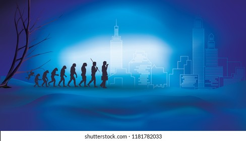 Human evolution with businessman - Transition from nature to the city and technology. Blue night