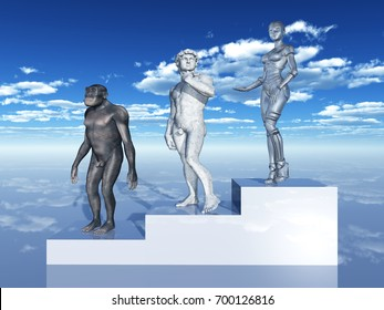 Human Evolution Computer generated 3D illustration