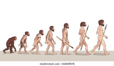 Human Evolution Illustration. Man Evolution. Progress Growth Development. Monkey, Neanderthal, Homo Sapiens, Primate With Weapon. Historical Illustrations Raster Version.