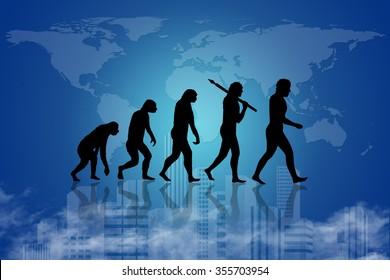 Human evolution into the present digital world.