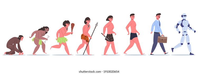 Human evolution. Male character development from monkey to caveman, businessman and AI cyborg. Anthropology evolution  illustration. Development evolution, primitive prehistoric evolve