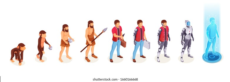 Human evolution of man from ape monkey to digital world technology, life development process icons. People evolution from caveman primitives to modern life and to cyborg artificial intelligence