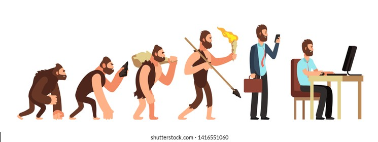Human evolution. From monkey to businessman and computer user. Cartoon characters evolution human, ape and ancestors illustration