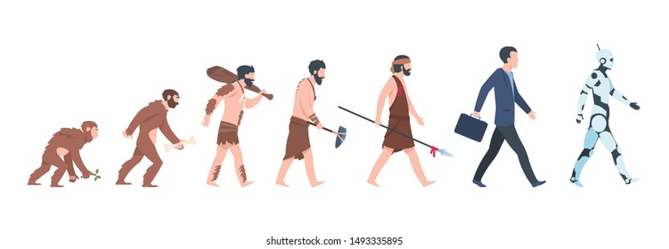 Human evolution. Monkey, caveman to businessman and cyborg cartoon concept, from ancient ape to man growth.  mankind primate evolution