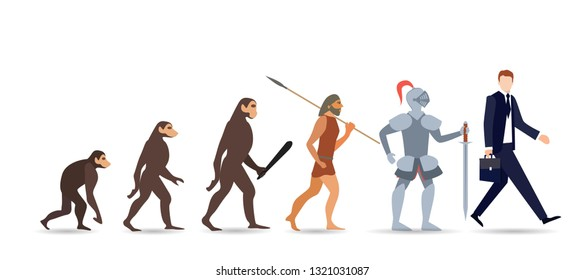 Human evolution stages. Evolutionary process and gradual development visualization from monkey or primate to businessman dressed in suit carrying briefcase. Flat cartoon colorful vector illustration