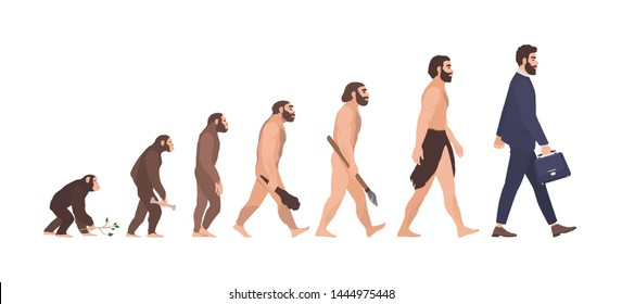 Human evolution stages. Evolutionary process and gradual development visualization from monkey or primate to businessman dressed in suit carrying briefcase. Flat cartoon colorful illustration