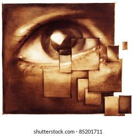human eye closeup - distraction metaphor - artistic painting