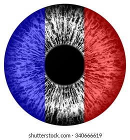 Human eye - designed in french tricolor - blue, white and red