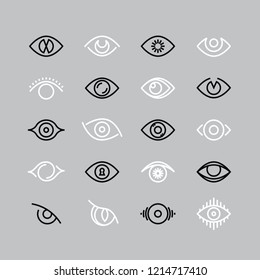 Human eye line icons. Eyesight outline pictograms