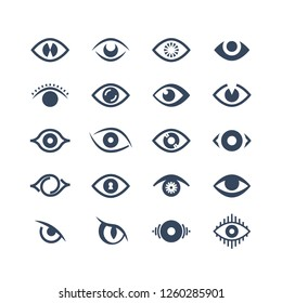 Human eye, supervision and view symbols. Looking eyes silhouette icons