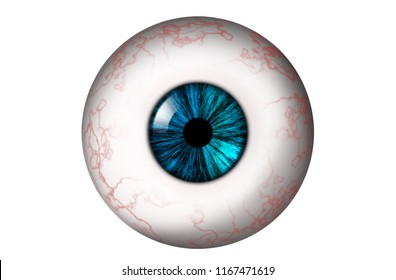 Human eyeball with red veins and turquoise iris on a white background. Bitmap illustration