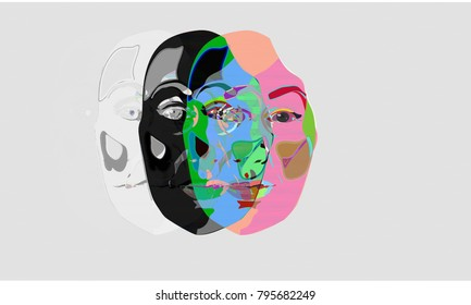 Human face glitch illustration. Human face fading away glitch concept