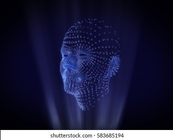 Human face Hologram Wireframe Style.3D rendering