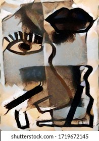 Human face. Surreal image on a black background in the form of modern abstraction. The painting is executed in oil on canvas with elements of pastel painting.