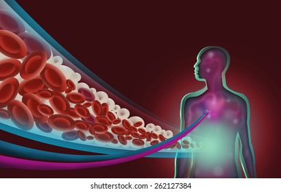 A Human Figure with a Diagram Cut Out style of Moving Lipids or Fatty Acids and Red Blood Cells. Medical Image Symbolism for Hypertension, Nutrition, Diabetes and more. Raster jpg Illustration.