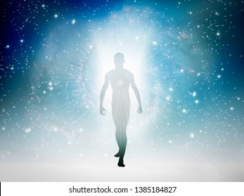 Human figure emerges from the space. 3D rendering