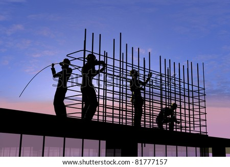 Human Figures Builders Sky Stock Illustration 81777157 Shutterstock