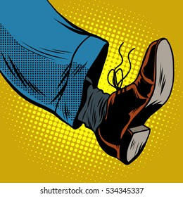 Human foot with Shoe, pop art retro  illustration, take a step