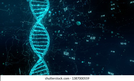Human genome mapping research of human DNA double helix and genes in molecular chemistry - 3D render