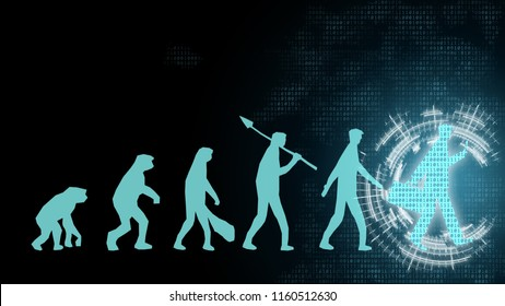 Human geometric growth change transformation innovation of evolution change from monkey, caveman, people to businessman in future digital disruption working financial banking of consumer behaviour