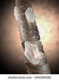 Human hair microscope 3D illustration