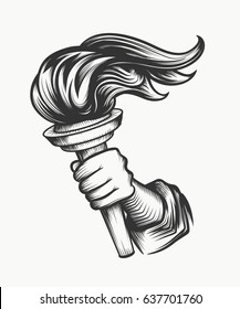 Human Hand holds a torch. Liberty symbol in engraving style good for tattoo or emblem design. Isolated on white.