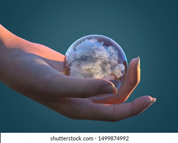 human hand holds a transparent sphere with cloud inside, 3d illustration