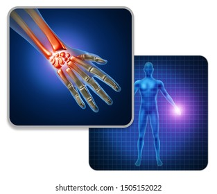 Human hand joint pain concept as skeleton and muscle anatomy of the body with a group of sore wrist and finger joints as a painful injury or arthritis illness symbol with 3D illustration elements.