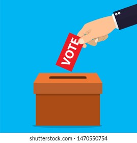 Human hand putting voting paper in the ballot box. illustration in flat design, infographics web design elements raster version.