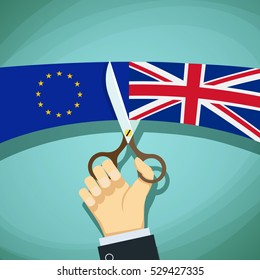 Human hand with scissors cuts the flags of Great Britain and the European Union. Stock cartoon illustration.