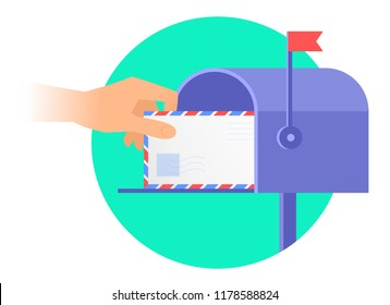 Human hand is taking out an envelope from a mailbox. Flat illustration of postbox and a hand holding avia letter. Receiving a correspondence, postal, mail concept isolated on white background.