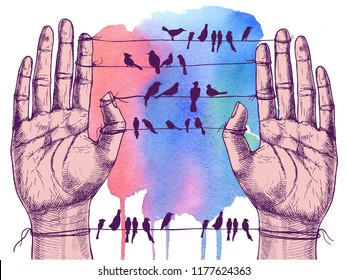 Human hands and birds on wires. Hand-drawn raster symbolic illustration for your surreal design.