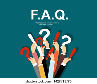 Human hands holding question mark, FAQ in flat design style, illustration