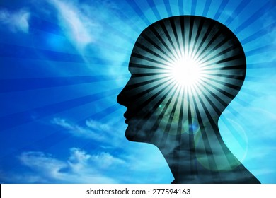 human head, blue sky ,sun,clouds,rays and blur background