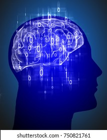 human head with brain and binary code