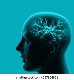 human head with brain and blue background