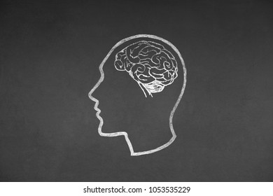 Human head and Brain Concept Drawing on Blackboard Texture