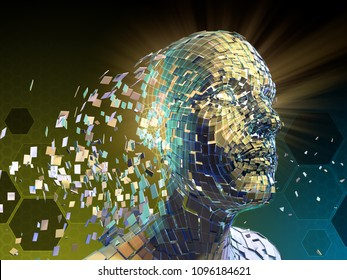 Human head breaking donw into small fragments. 3D illustration.