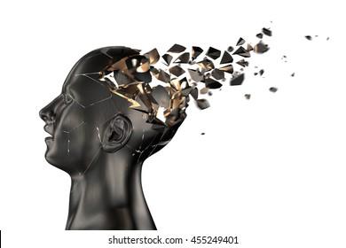 Human Head Breaks into Pieces. 3D illustration
