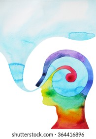 human head, chakra power color colorful abstract thinking thought, calm, peace symbol, world, universe inside your mind, watercolor painting, design illustration