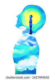 human head, chakra power, fantasy abstract thinking, world, universe inside your mind, watercolor painting