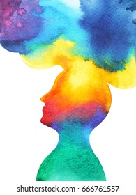 human head, chakra power, inspiration abstract thought, world, universe inside your mind, watercolor painting