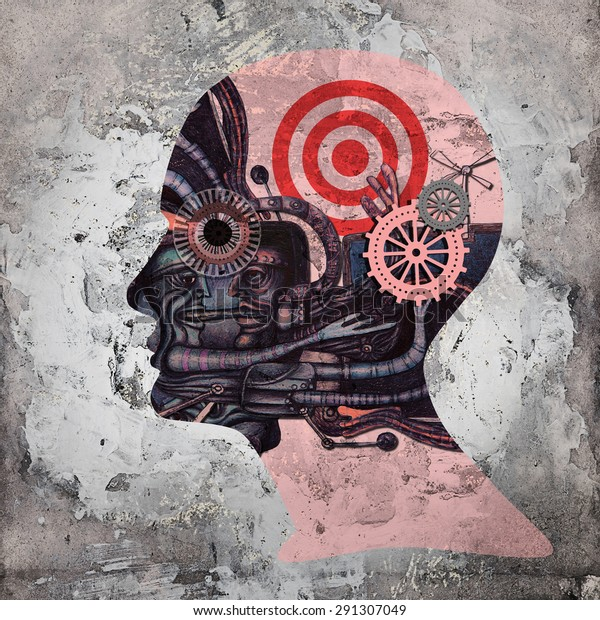 human head with drawings ,gears copyspace for text and wall background