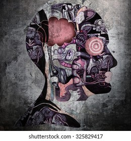 human head with drawings and wall background